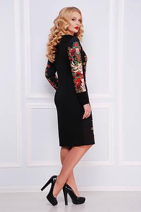 Платье женское черное с красными розами больших размеров, фото 2