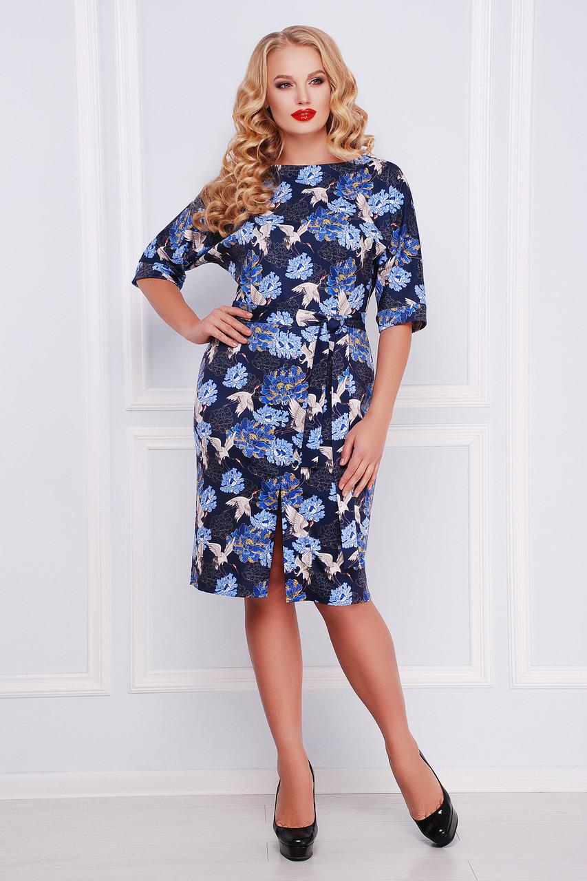 Платье женское синее с принтом больших размеров
