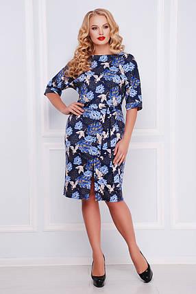 Платье женское синее с принтом больших размеров, фото 2