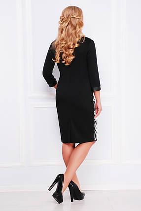 Платье женское черное с белым узором  больших размеров, фото 2