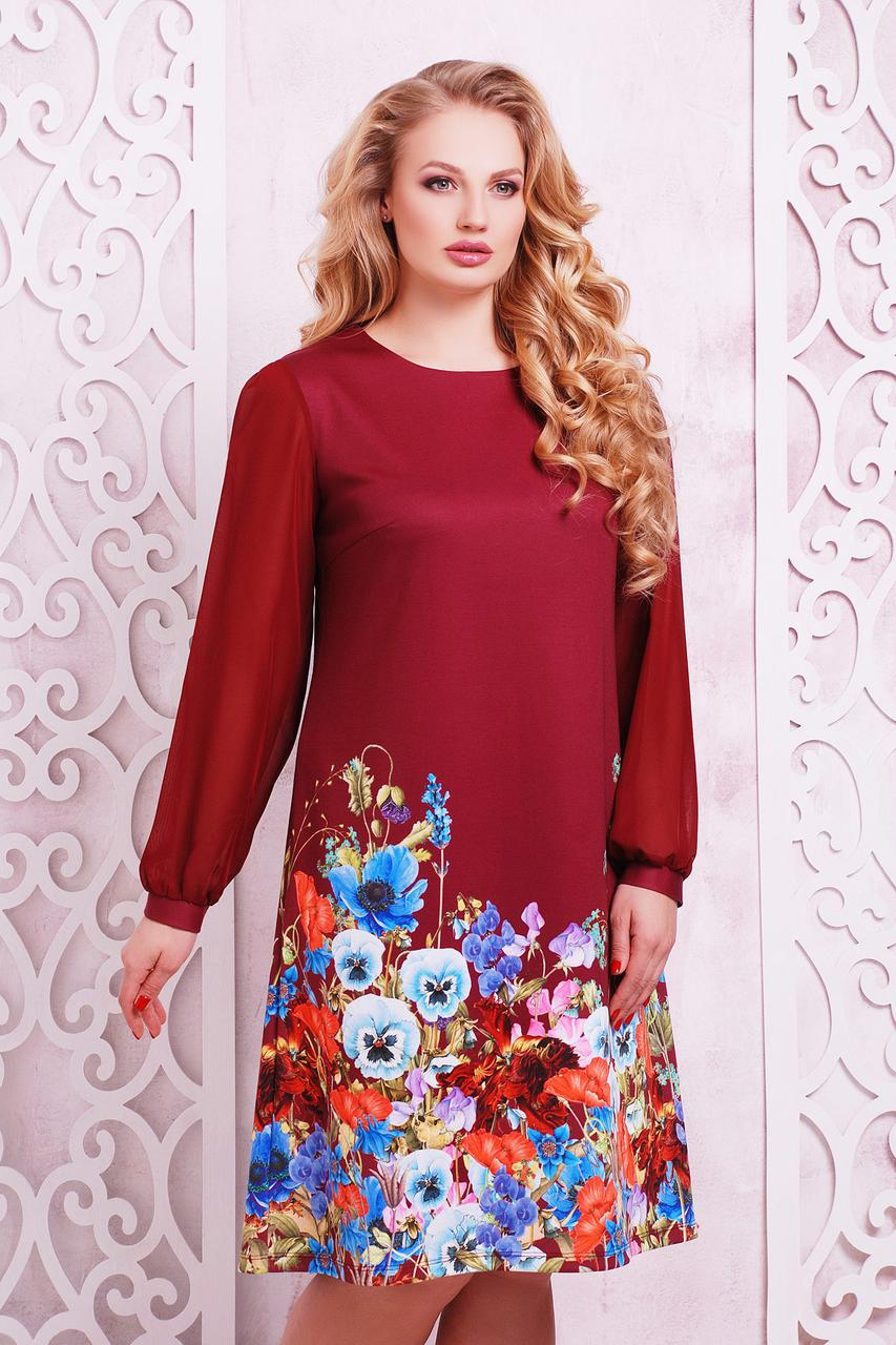 Платье женское бордовое из цветочным принтом больших размеров