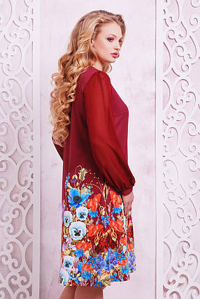 Платье женское бордовое из цветочным принтом больших размеров, фото 2