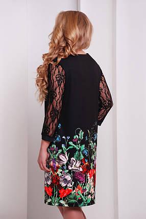 Платье женское черное  из цветочным принтом больших размеров, фото 2