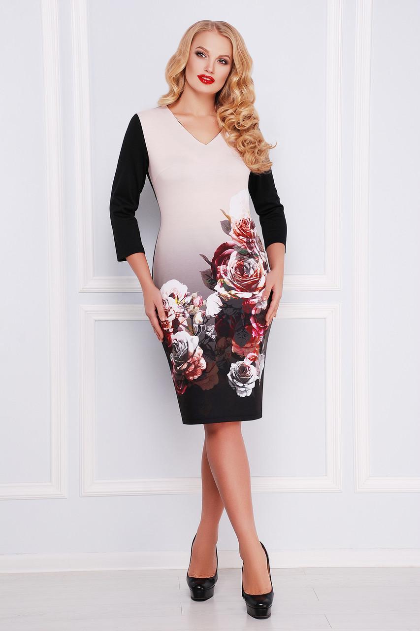 Платье женское с цветочным принтом больших размеров размер 2ХЛ