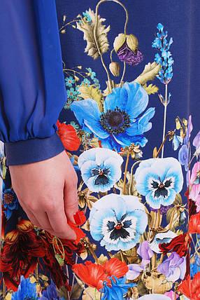ское синее  из цветочным принтом больших размеров, фото 2