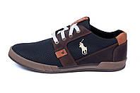 Мужские кожаные летние кроссовки, перфорация Polo black