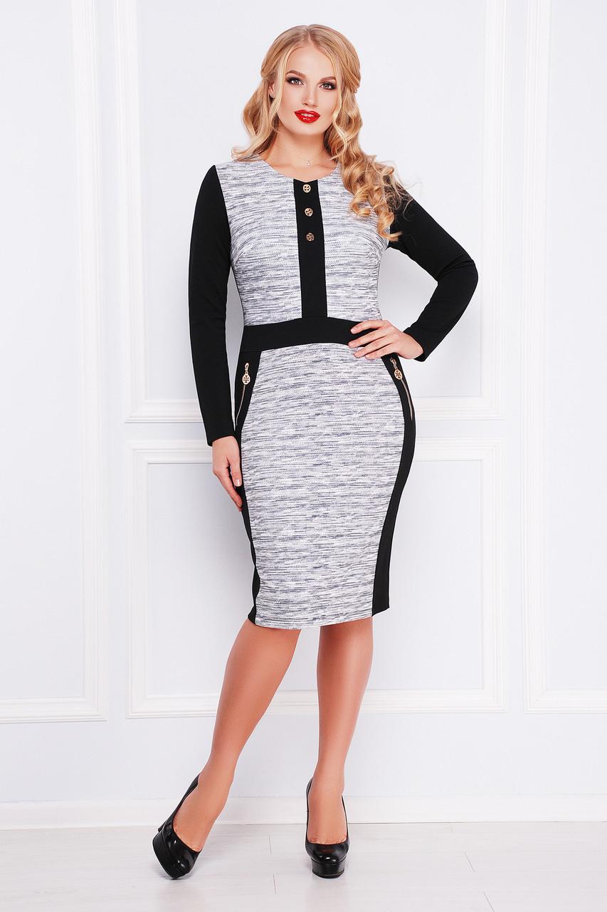 платье батальное черно-серое