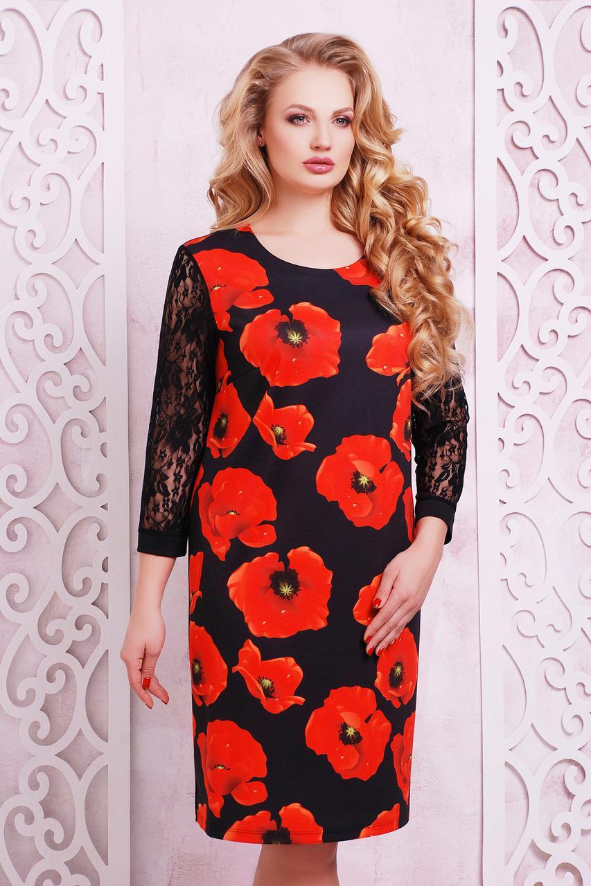 платье батальное трикотажное с маками
