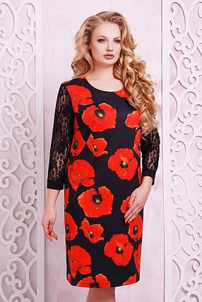 платье батальное трикотажное с маками, фото 2