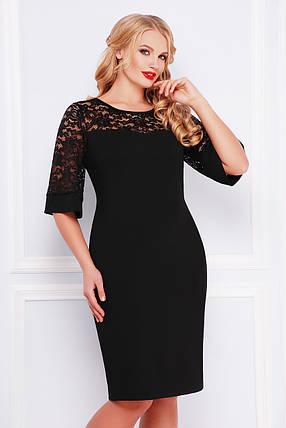 Красивое батальное платье с кружевными рукавами, фото 2