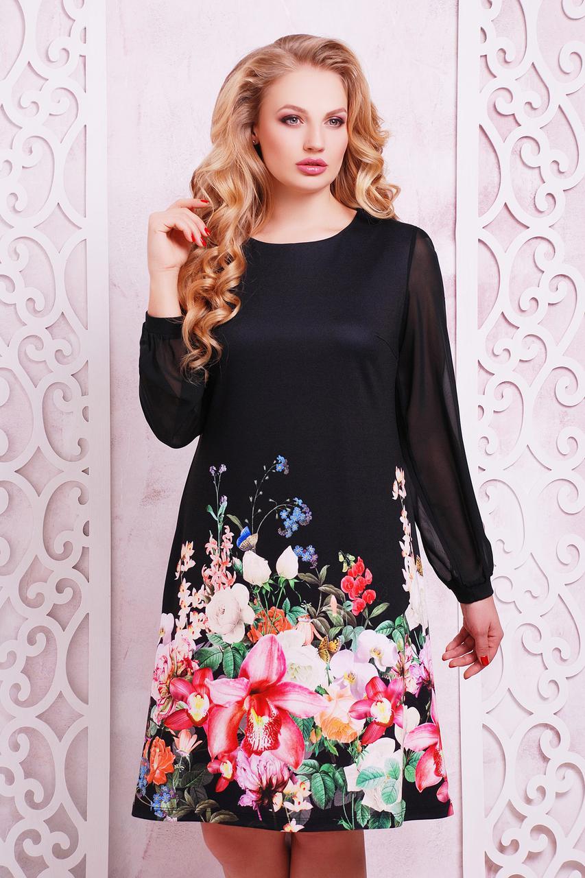 GLEM Черный букет платье Тана-3БФ (шифон) д/р