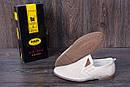 Мужские кожаные летние туфли, перфорация, KF beige на резинках, фото 6