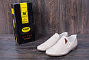 Мужские кожаные летние туфли, перфорация, KF beige на резинках, фото 7