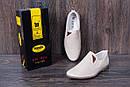 Мужские кожаные летние туфли, перфорация, KF beige на резинках, фото 8
