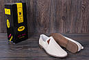 Мужские кожаные летние туфли, перфорация, KF beige на резинках, фото 9