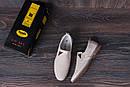 Мужские кожаные летние туфли, перфорация, KF beige на резинках, фото 10