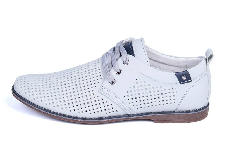 Мужские кожаные летние туфли, перфорация, KungFu grey