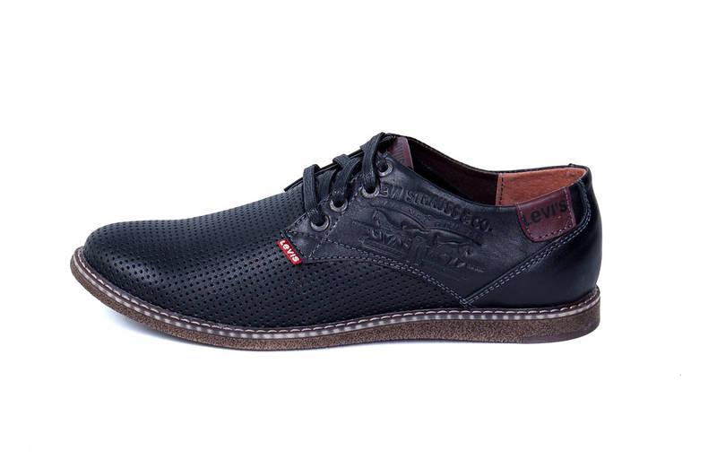 Мужские кожаные летние туфли  Levis Strauss Black Area перфорация