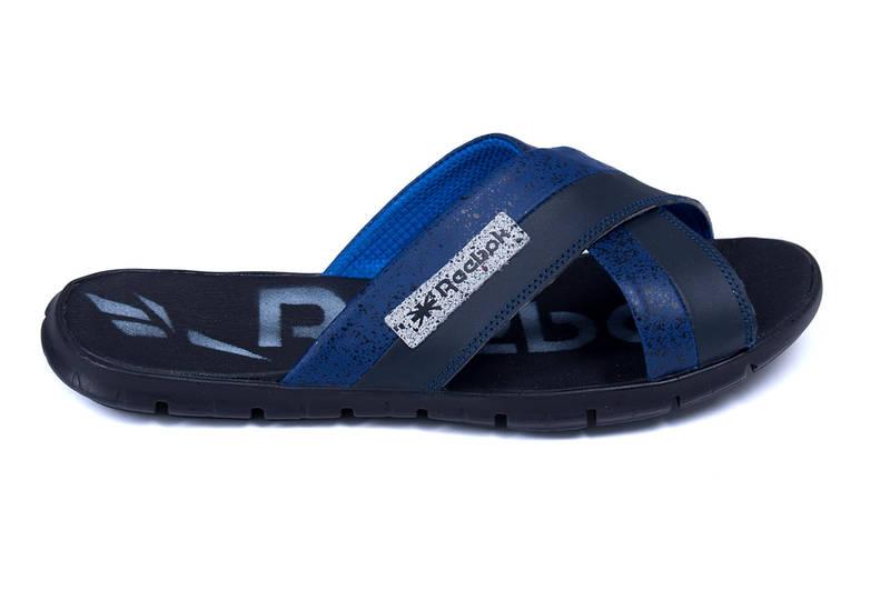 Мужские кожаные  летние шлепанцы Reebok black and Blue track
