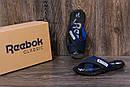 Мужские кожаные  летние шлепанцы Reebok black and Blue track, фото 7