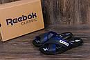 Мужские кожаные  летние шлепанцы Reebok black and Blue track, фото 8