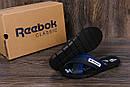 Мужские кожаные  летние шлепанцы Reebok black and Blue track, фото 9