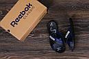 Мужские кожаные  летние шлепанцы Reebok black and Blue track, фото 10
