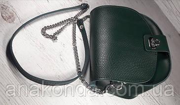 412 Натуральная кожа,Сумка кросс-боди женская, на замочке, БЕЗ ПОДКЛАДКИ, зеленый хвоя SHADED SPRUCE, фото 3