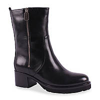 Модные женские полу сапоги(кожаные, черные, зимние, на каблуке, удобные, модный замок,  теплые, Джовани)