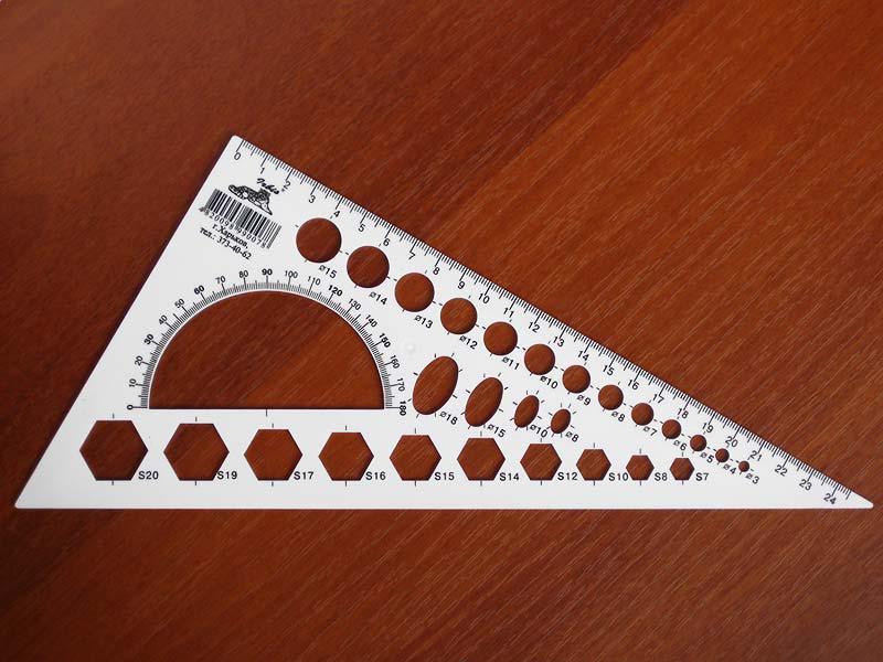 Треугольник-транспортир 23 см. с радиусами (белая пластмасса)