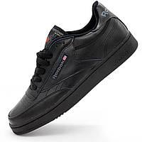 Мужские кроссовки Reebok Сlassic Club C 85 черные, натуральная кожа - Топ качество! р.(42, 43)