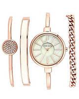 Женские часы в подарочной упаковке watch set AK gold white, black ANNE KLEIN стильные женские часы