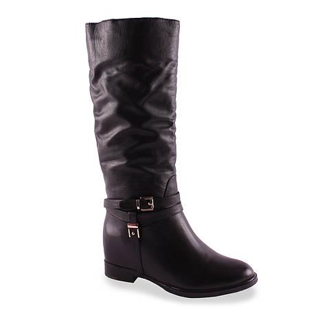 Кожаные сапоги Djоvannia (зимние, на удобной подошве, с пряжками, на замке, черные, теплые, стильные)