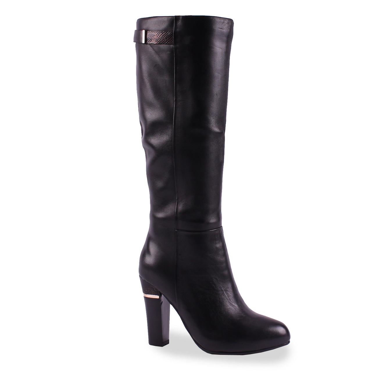 Элегантные кожаные сапоги Dina Fabiani(зимние, на красивом каблуке, натуральная кожа, черные, теплые)