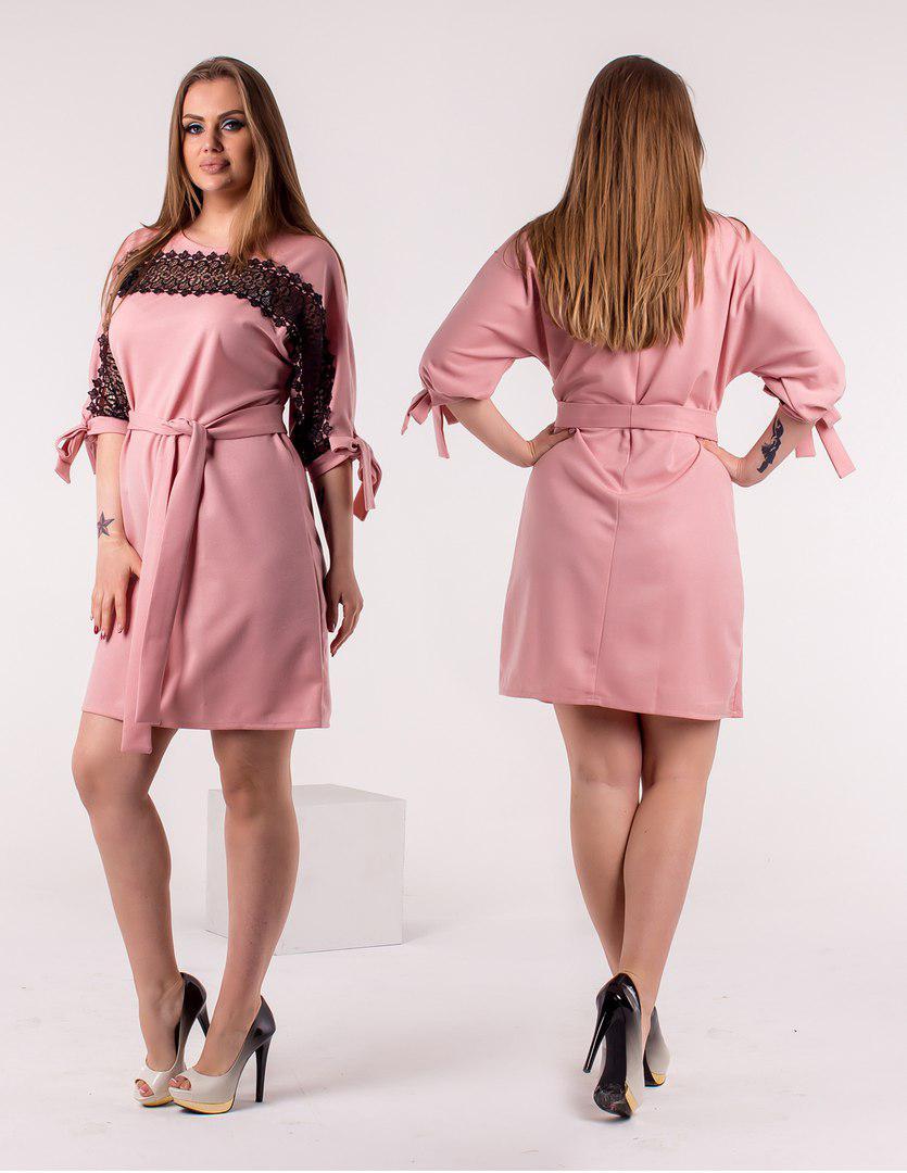 Платье больших размеров от 46 до 50   рукав летучая мышь, декорировано кружевом / 3 цвета арт 5994-103