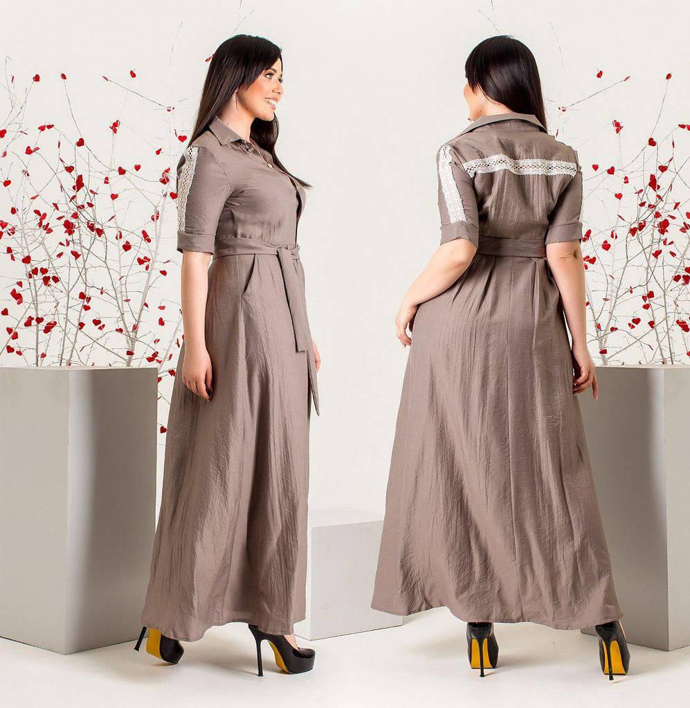 Платье макси с рукавом о локтя размеры  от 46 до 50, декорировано кружевом   / 3 цвета арт 5996-103