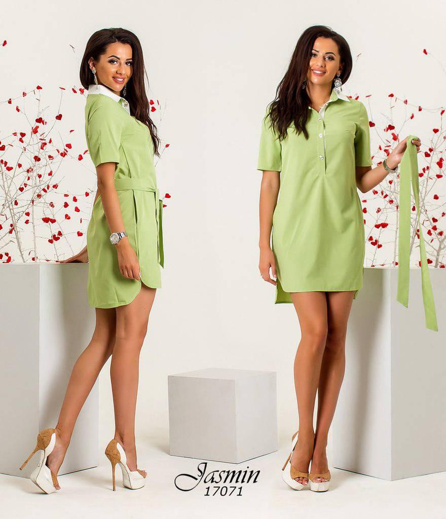 Платье рубашка свободного кроя с поясом    / 5 цветов арт 5997-103