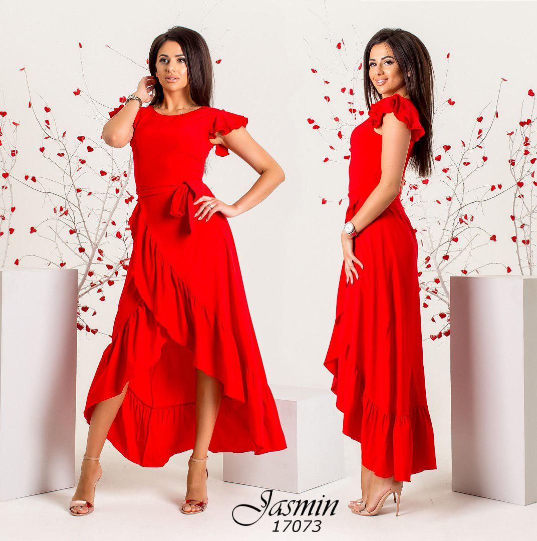 Платье  с воланами удлиненное сзади р-ры от 42 до 50   / 5 цветов арт 5998-103