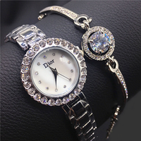 Женские часы в подарочной упаковке WATCH SET Dior стильные женские часы, ручные часы, наручные кварцевые часы, фото 1