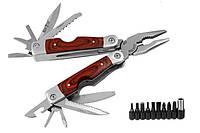 Мультитул с битами Grandway (14 функций, сталь ножа 420, длина рукоятки 115 мм), мультиинструмент