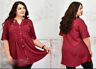 Блузка женская расклешенная на пуговицах, с 52-68 размер, фото 1