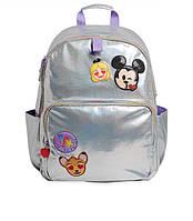Школьный рюкзак для девочки Disney оригинал серебристый с паетками и вышивками любимых персонажей