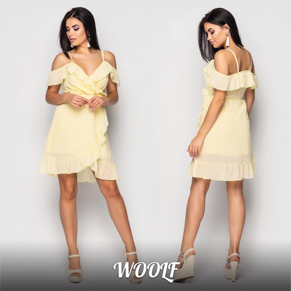 95c08fb9befd8e5 Платье легкое на запах с оборками и бретелями (в расцветках) 19124PL -  Milagra в