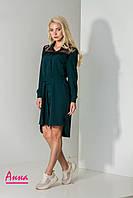 Асимметричное платье-рубашка с гипюром и поясом (в расцветках) 19129PL, фото 1