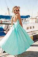 Длинное легкое платье из хлопка в принт с открытой спиной (в расцветках) 19138PL