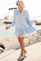 Свободное батистовое платье рубашка с кружевом (в расцветках) 19140PL