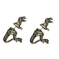 Серьги 3D, Пусет, Двухсторонние, Античная бронза, Динозавр, Страз - Зеленый хрусталь, 28 мм x 22 мм
