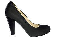 Кожаные польские женские черные классические туфли на каблуке Kati 5322