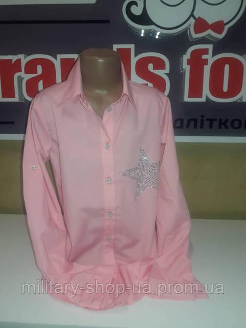 Розовая удлененная блузка с декоративным поясом  девочкам