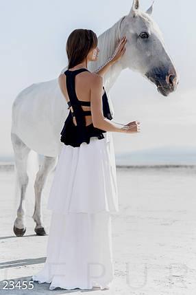 Красивое платье длинное без рукав спина с вырезами черно белое, фото 2